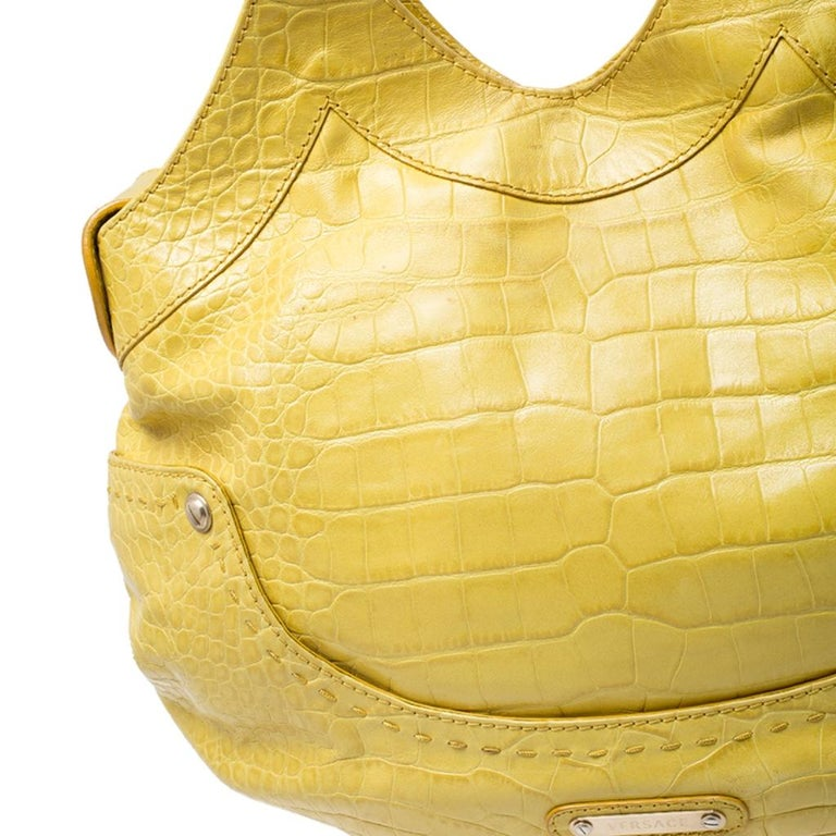 Versace Yellow Croc Embossed Leather Kiss Satchel For Sale 2