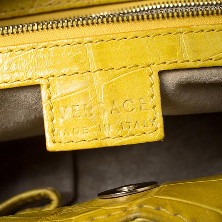 Versace Yellow Croc Embossed Leather Kiss Satchel For Sale 4