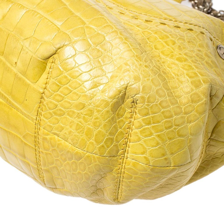 Versace Yellow Croc Embossed Leather Kiss Satchel For Sale 5