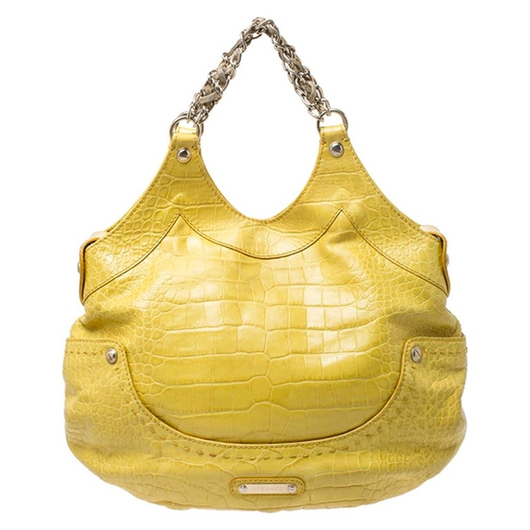 Versace Yellow Croc Embossed Leather Kiss Satchel For Sale