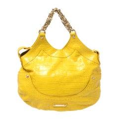 Versace Yellow Croc Embossed Leather Kiss Shoulder Bag