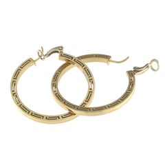 Versace Yellow Gold Pair of Earrings from the Logo Collection