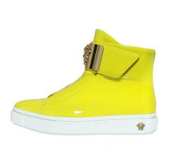 VERSACE Yellow Patent Leather Fashion Sneakers