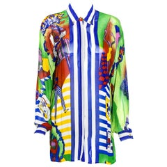 Versace's Sky's The Limit Vintage Sheer Blue Multi Color Blouse