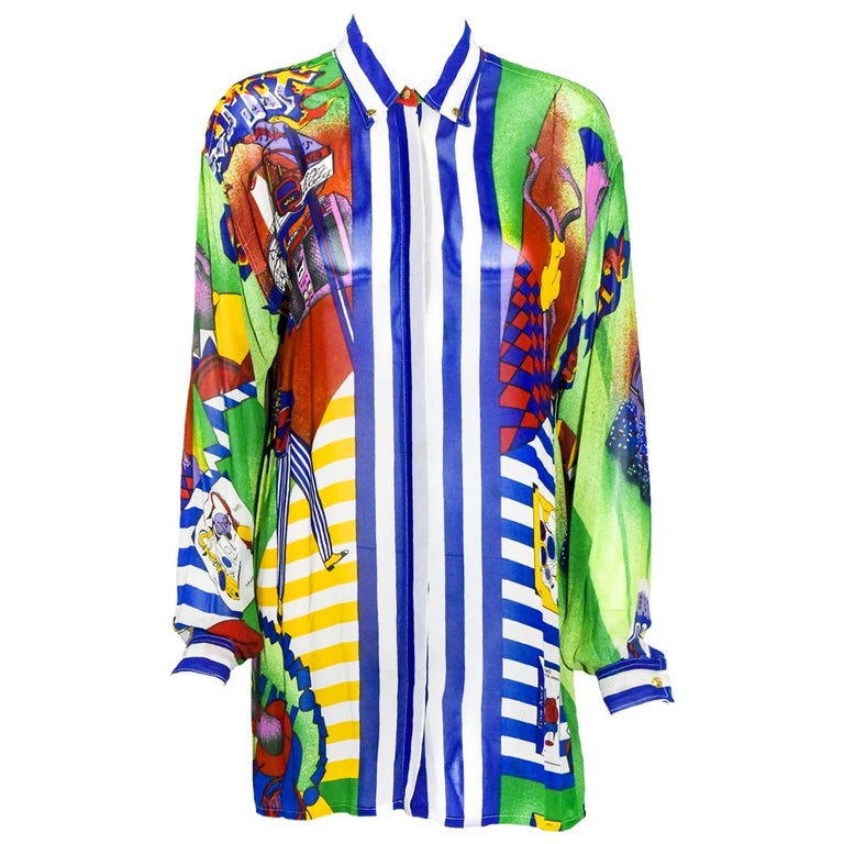 Versace's Sky's The Limit Vintage Sheer Blue Multi Color Blouse For Sale