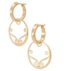 Versailles Circle Drop Earrings in 18 Karat Gold