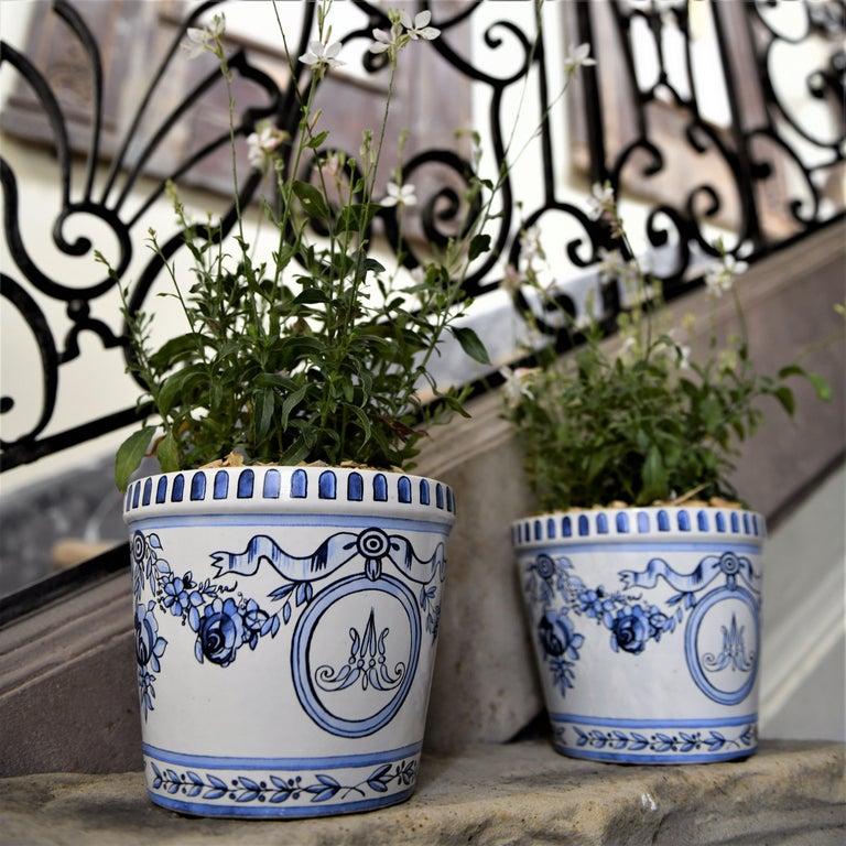 Louis XVI Versailles Flower Pot and Saucer For Sale