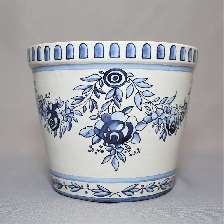 Handmade reproduction of the original 18th century Marie-Antoinette flower pots with saucers in blue and white enameled, Frost proof stoneware. Originally created for the Versailles castle gardens. Packed in a box with the Queen's monogram and a