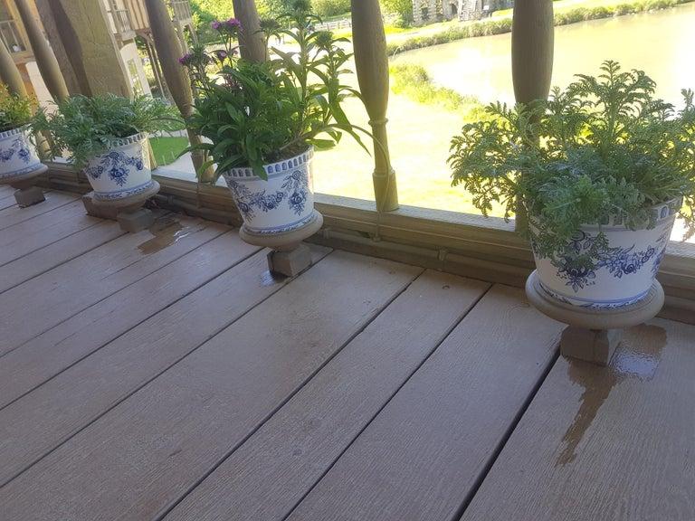 Ceramic Versailles Flower Pot and Saucer, Set of 4 For Sale