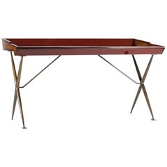 Versatil Midcentury Inspired Lacquered Wood and Blackened Brass Writing Desk