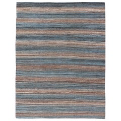 Versatile and Natural Brown and Blue Flat-Weave Kilim for a Any Design