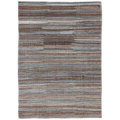 Versatile and Natural Color-Tone Flat-Weave Kilim for a Modern or Classic Design