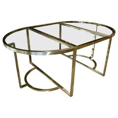 Versatile Brass Oval or Round Dining Table by Romeo Rega, 1970