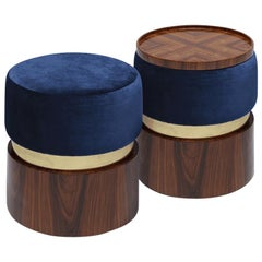 Versatile Contemporary Pouf Set B with a Tray in Wood, Brass and Velvet