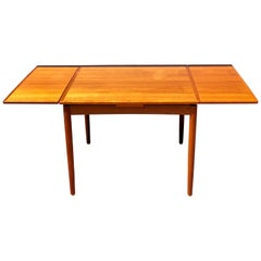 Versatile Danish Modern Flip-Top Dinning Teak Square Table with Double Extension