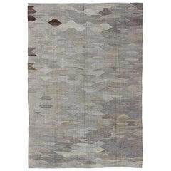 Versatile Flat-Weave Kilim Rug in Neutral Colors with Geometric Design