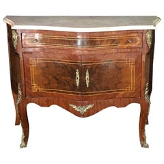 Versatile French Louis XV Carrara Marble Top Nightstand or Petite Chest