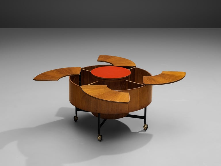 Side table with dry bar, teak, brass, steel, Italy, 1950s.