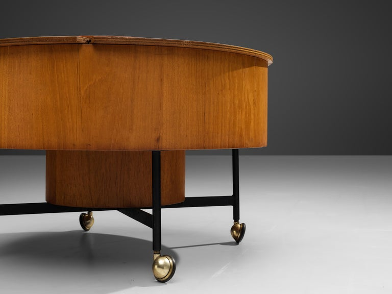 Mid-20th Century Versatile Italian Dry Bar Side Table on Wheels with Storage