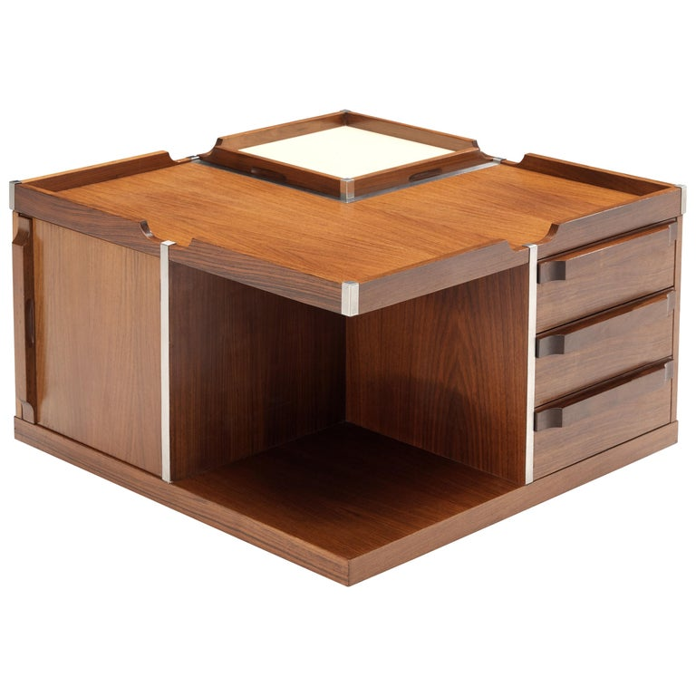Versatile Italian Side Table on Wheels with Dry Bar in Walnut For Sale