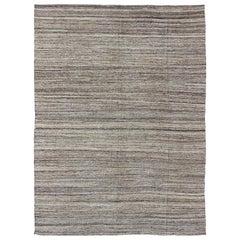 Versatile & Natural Color-Tone Flat-Weave Kilim for a Modern or Classic Design
