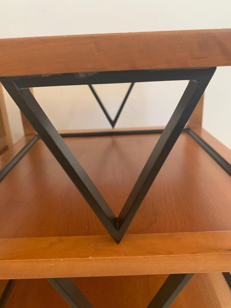 American Versatile Pair Mid-Century Modern 4 Tier Ebony & Fruitwood End Side Tables For Sale