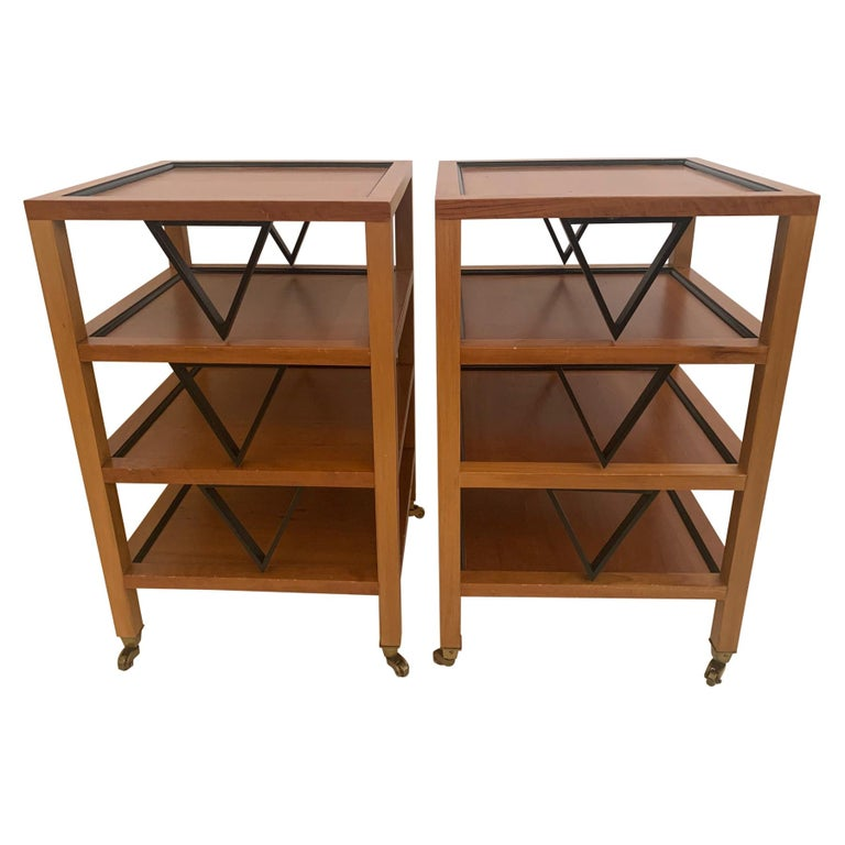 Versatile Pair Mid-Century Modern 4 Tier Ebony & Fruitwood End Side Tables For Sale