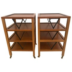 Versatile Pair Midcentury Modern Square 4 Tier Ebony & Fruitwood End Side Tables