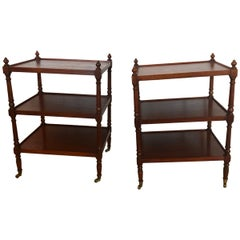 Versatile Pair of Grand Rapids Vintage 3-Tier Mahogany Side End Tables