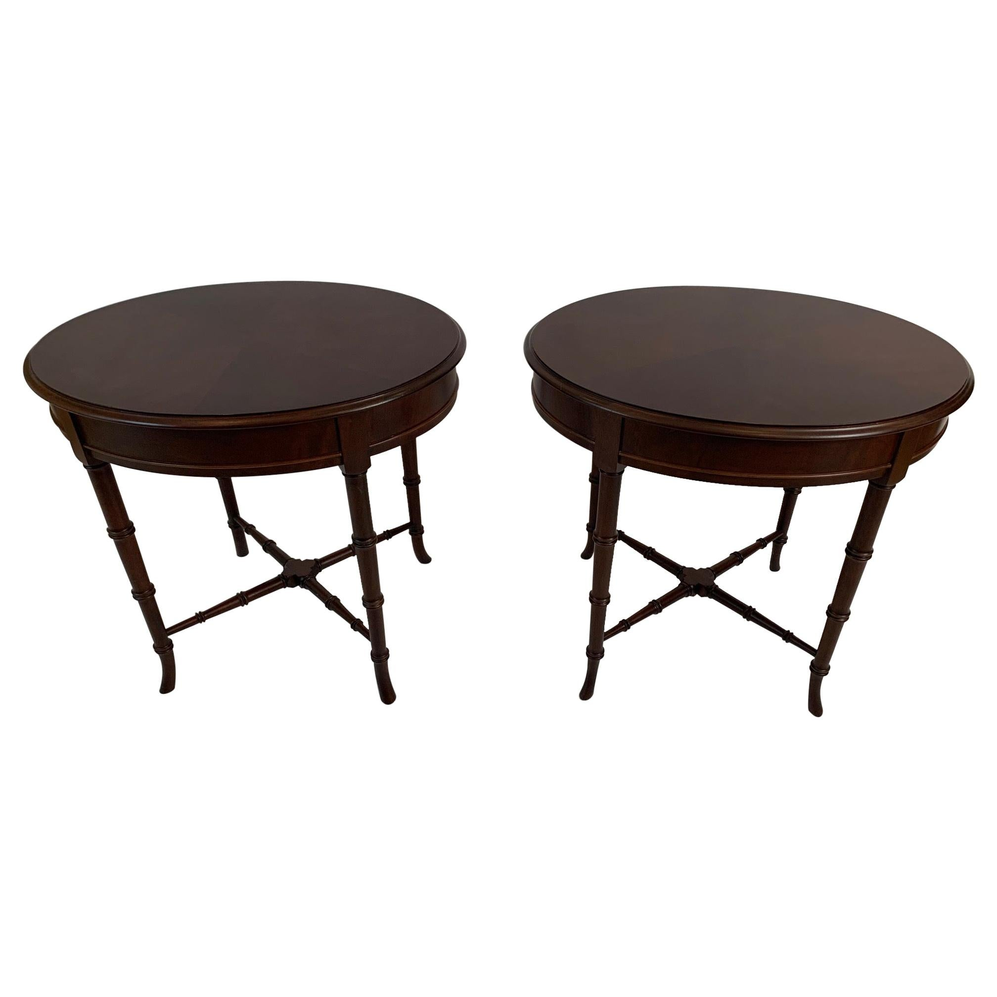 Versatile Pair of Hickory Chair Mahogany & Bamboo Style Side Tables