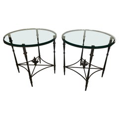 Versatile Pair of Iron and Glass Round Side End Tables with Fleur di Lis Finials