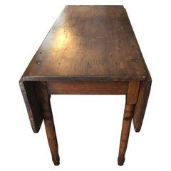 Versatile Primitive Antique Drop-Leaf Pembroke Table
