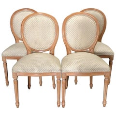 Versatile Set of 4 Louis XVI Style Natural Wood and Upholstered Dining Chairs