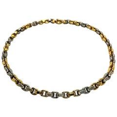 Versatile, Smaller Scale Yellow and White Gold Cable Link Necklace
