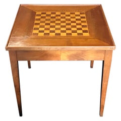 Versatile Vintage French Walnut Square Game Table
