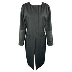 VERSUS by GIANNI VERSACE Size 10 Black & Green Cotton Color Block Coat