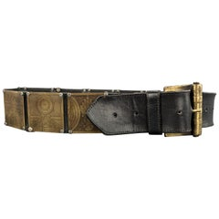 VERSUS by GIANNI VERSACE Size 32 Engraved Brass Black Leather Belt