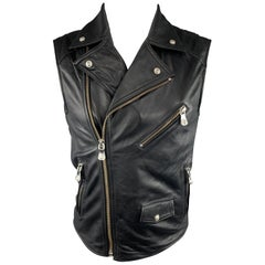 VERSUS by GIANNI VERSACE Size 36 Black Leather Lion Head Biker Vest