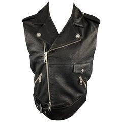 VERSUS by GIANNI VERSACE Size 38 Black Leather Biker Vest
