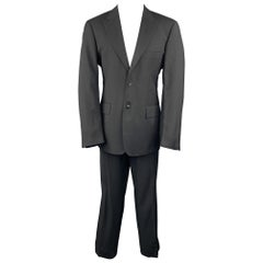 VERSUS by GIANNI VERSACE Size 38 Regular Black Checkered Peak Lapel Suit