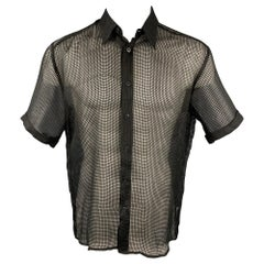 VERSUS by GIANNI VERSACE Size S Black Grid Silk Button Up Short Sleeve Shirt