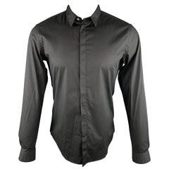 VERSUS by GIANNI VERSACE Size S Black Mesh Cotton Blend Long Sleeve Shirt