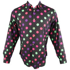 VERSUS by GIANNI VERSACE Size S Multi-Color Polka Dot Cotton Long Sleeve Shirt