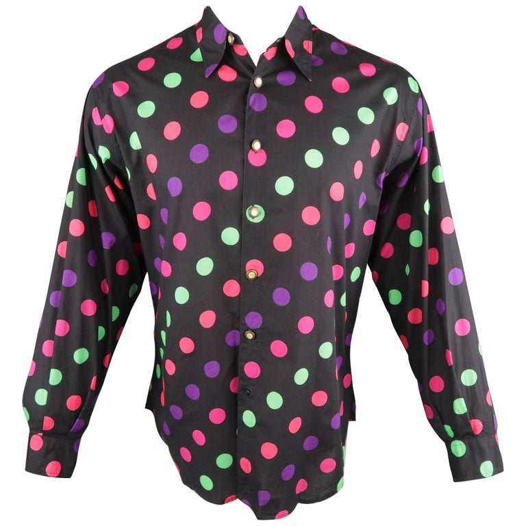 1b6561f59a489 VERSUS by GIANNI VERSACE Size S Multi-Color Polka Dot Cotton Long Sleeve  Shirt For