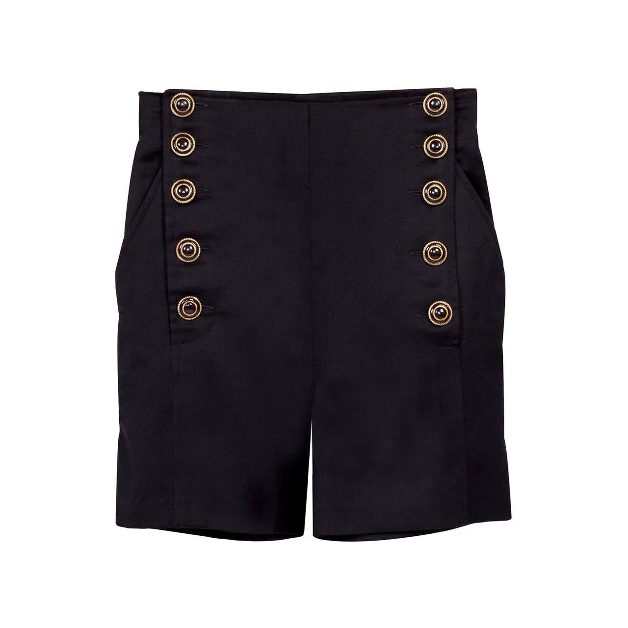 Versus Gianni Versace Black Marine High Waisted Shorts