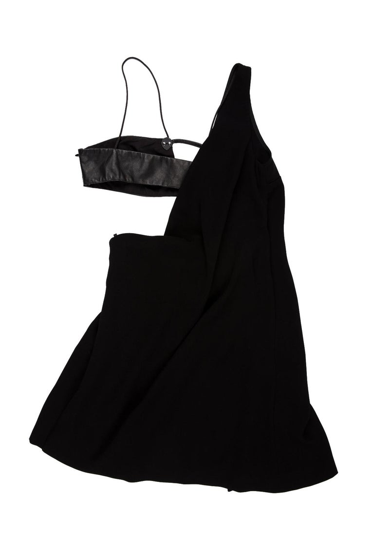 Versus mini dress. Polyester and leather.  Leather and studded accents  26