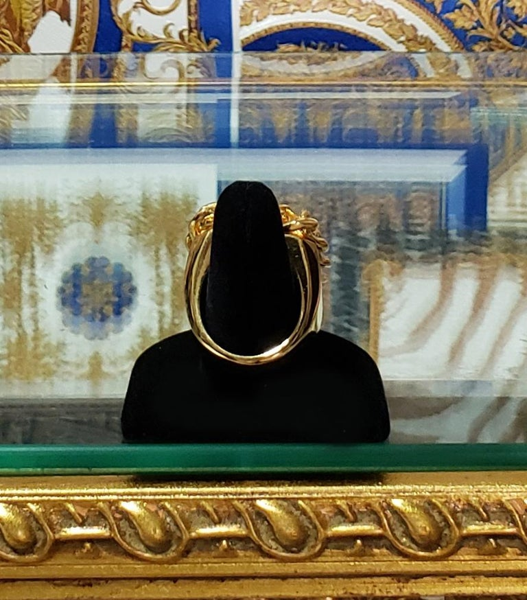 VERSUS VERSACE 24K GOLD PLATED GOLD LION RING size 9 For Sale 4