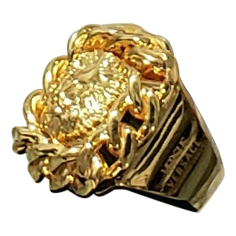 VERSUS VERSACE 24K GOLD PLATED GOLD LION RING size 9 For Sale