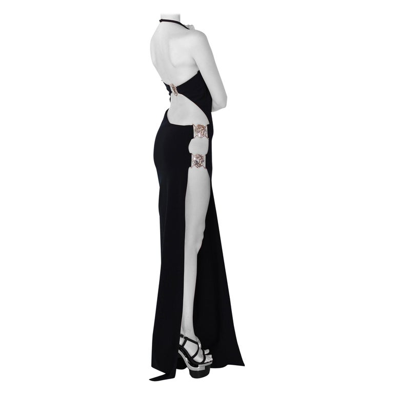 VERSUS VERSACE + Anthony Vaccarello Cut out along side long black dress gown For Sale