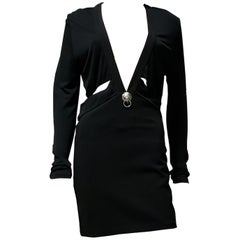 VERSUS VERSACE + ANTHONY VACCARELLO LOW-CUT BLACK Dress 44 - 8